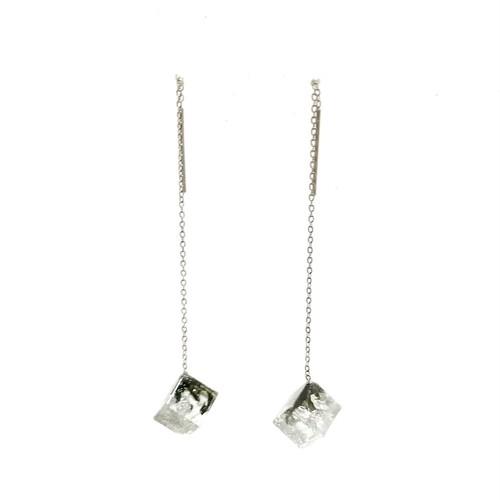 チェーンピアス シルバースクエアM・Threader Earrings - Silver Square (M)