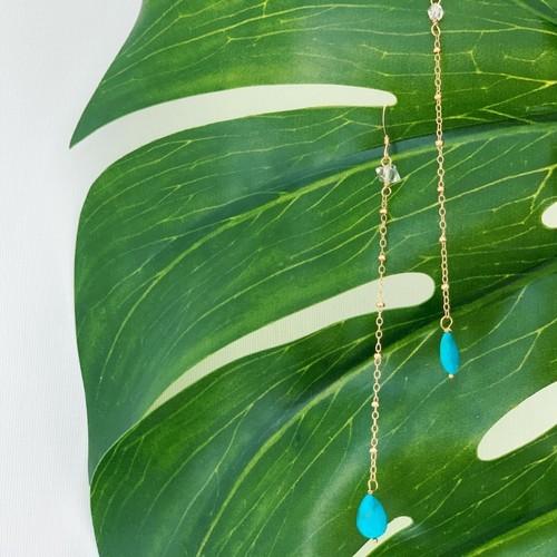 Sleepingbeauty turquoise Herkimerdiamond Earrings