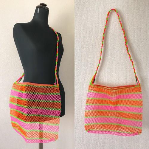 タイのカラフル編みバッグ(オレンジ)