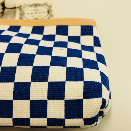 マチ付カードケース 藍市松