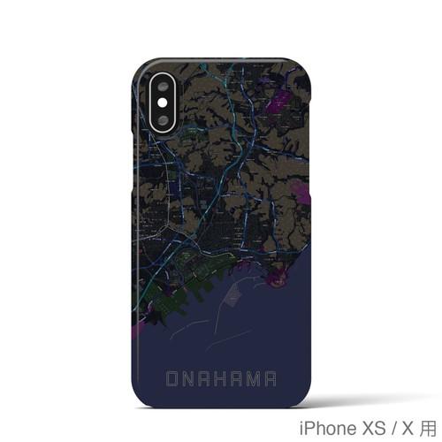 【小名浜】地図柄iPhoneケース(バックカバータイプ・ブラック)