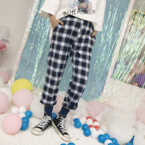 【❤ボトムス】チェック柄ハイウエストファッションカジュアルパンツ25073501