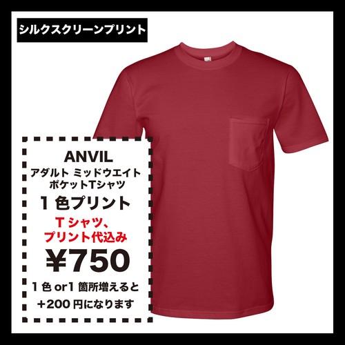 ANVIL アンヴィル アダルト ミッドウエイト ポケットTシャツ (品番783)