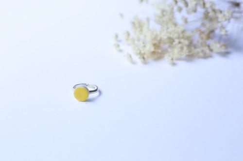 124伝統文化品美濃焼多治見四角タイル指輪・リング(フリーサイズ) 黄色(きいろ)