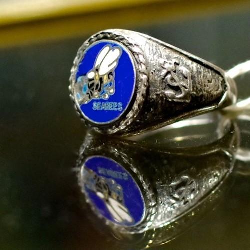 "WW2 US Navy ""SEABEES"" Sterling Silver Vintage Ring / 40年代 USN シービーズ シルバー リング"