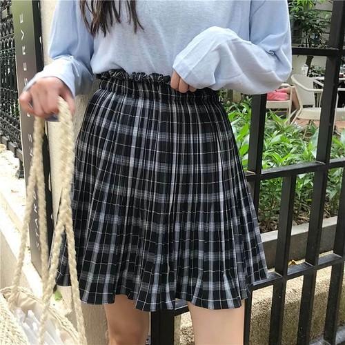 【送料無料】秋っぽタータンチェック ♡ ガーリー ウエスト シャーリング プリーツ ミニ スカート