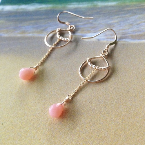 Pink Opal*14Kgf チェーンピアス