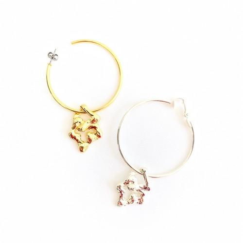 【 SeadsMara 】- 19A3-15P - nature 2way hoop pierce&earring