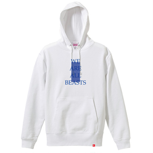 """We Are All Beasts"" Hoodie / White × Blue × Blue"
