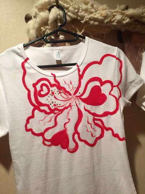 花シリーズ  ラブリーハイビ❤レッド 手描きTシャツ