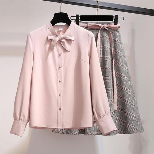 【即納】pinkシャツスカートSET