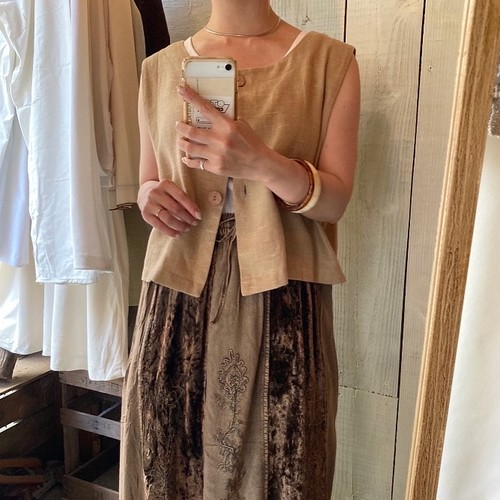 Linen short design vest