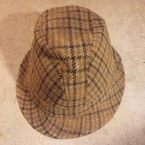 スコットランド英国製ツイード ハット54ソフト帽子ウール千鳥格子ビンテージOLD