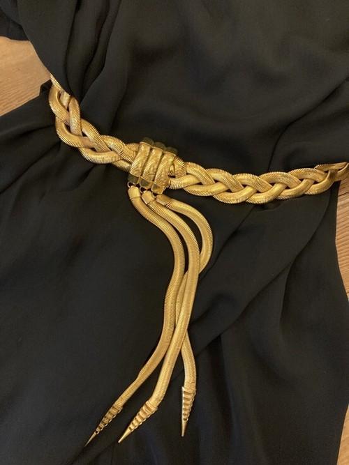 """YSL 1970~80's """"rivegauche"""" Belt -Rare!- #04 -Snake Chain-"""