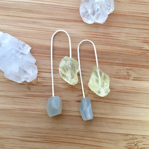 Lemon quartz + gray moon stone
