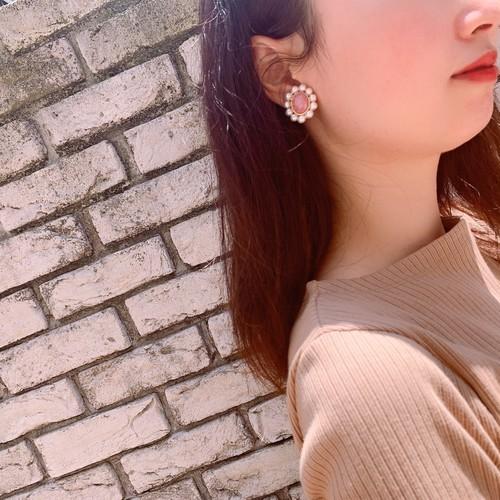 マーブル × パール イヤリング