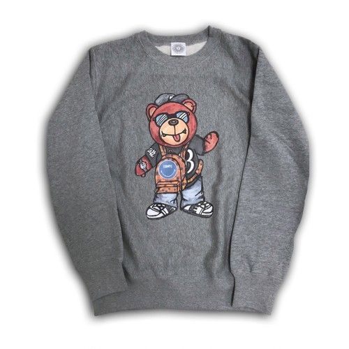 EXAMPLE BB BEAR CREW NECK SW /GRAYxBLUE