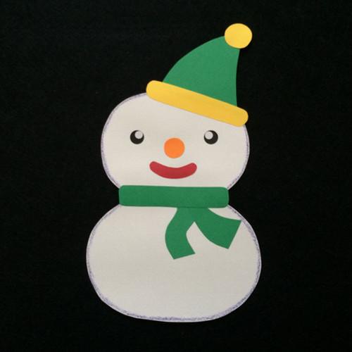 雪だるまの子ども(緑)の壁面装飾