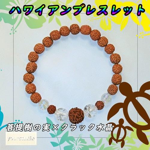 菩提樹の実×クラック水晶のブレスレット02