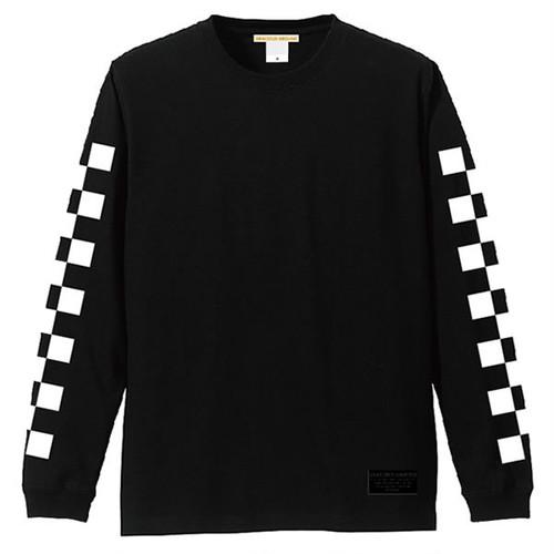 ロングスリーブ Tシャツ メンズ レディース お揃い ペアルック 長袖 左右 両袖 チェッカー フラッグ 柄 プリント ロンT ギフト アメカジ 5.6オンス | 袖リブ仕様  ブラック