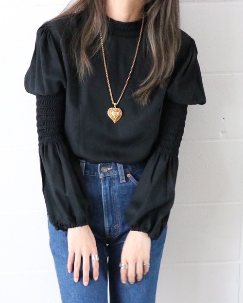 70's black blouse