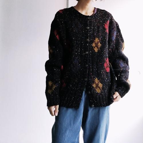 Japanese used Argyle knit cardigan