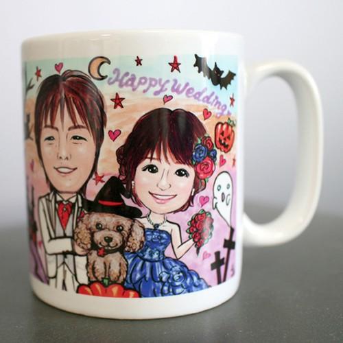 似顔絵マグカップ(2名ブライダル仕様)