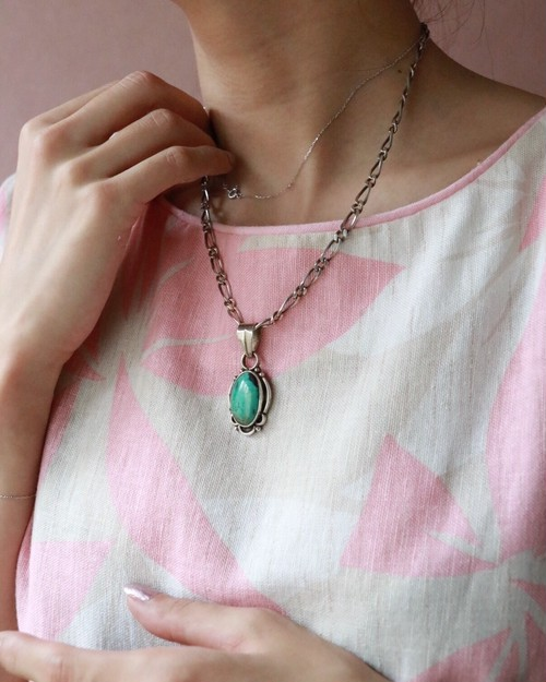 silver 925 + turquoise chain necklace