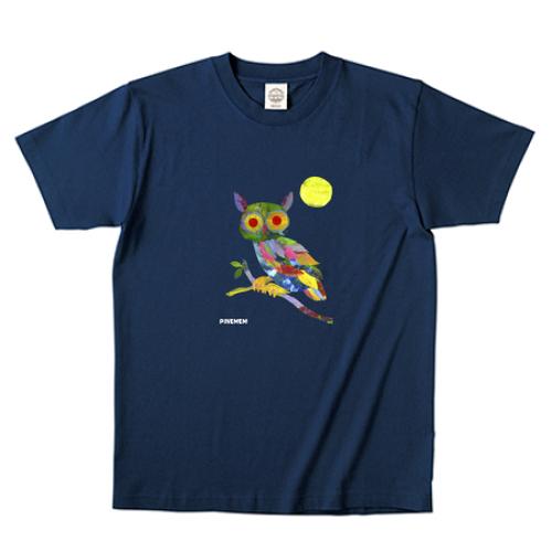 (月夜の森の動物シリーズ)オーガニックコットン フクロウTシャツ ネイビー