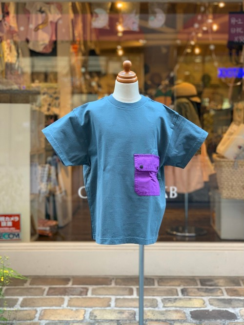 ADULT:Groovy colors【グルービーカラーズ】/天竺POCKET BIG TEE(GRAY&BLUE/150,160cm)Tシャツ
