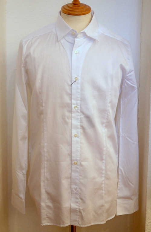 Cotton Satin Regular Collar Shirts WHITE