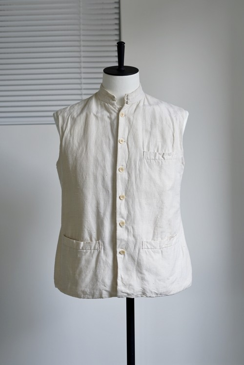 <SOLD OUT>French Vintage - Linen Stand Collar Vest 1960's
