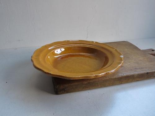 19c 南仏 黄茶釉のスーププレートb