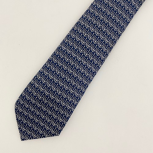 HERMES silk necktie horseshoes