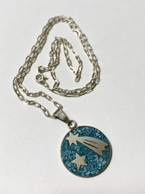 Vintage Inlaid Crushed Turquoise 925 Silver Pendant Necklace Made In Mexico