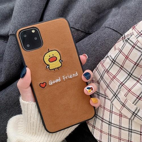 【注文商品】Cute Cartoon Animal Embroidered Corduroy iPhoneケース【Brown】
