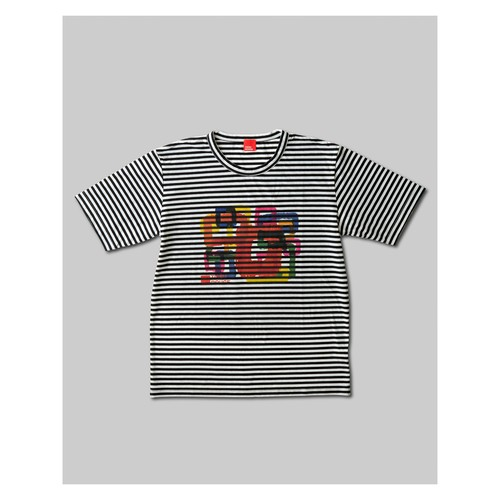 Rough Square T-Shirt Black & White Border HOMME