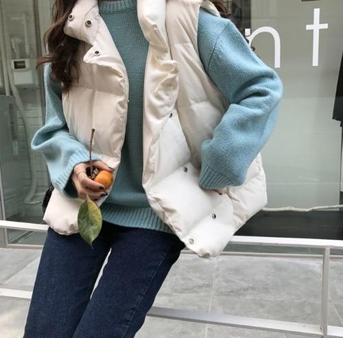 女性らしいシルエットが可愛いダウンベスト ショート丈 シンプル 暖かい フリーサイズ