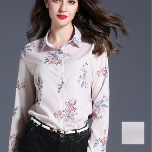トップス ブラウス・シャツ 定番スタイル 大人シャツ 花柄 とろみ クラシカル 春色 エレガント 通勤 オフィス ピンク S M L XL