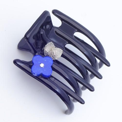 ヘアクリップ スターリリー ラピスラズリ ラインストーン 葉 ブラック ブルー 150158