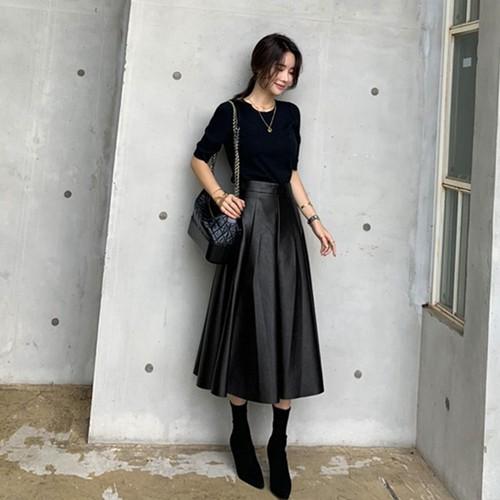 レザースカート フェイクレザー ミモレ丈 ロング フレアスカート Aライン 秋冬 PUレザー 革 ハイウエスト