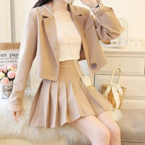 【3点セット】2色/ワンボタンジャケット+キャミ+プリーツスカート ・14228