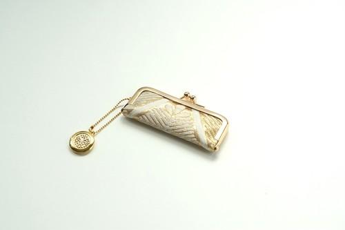 【ゴールド シルク帯  印鑑ケース】結婚祝い、誕生日ギフトに。がま口、帯リメイク(G08)