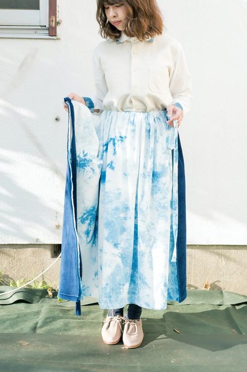 4way藍染巻きギャザースカート