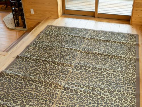 福岡花ござ 袋織 アニマル ブラウン 約191x250cm