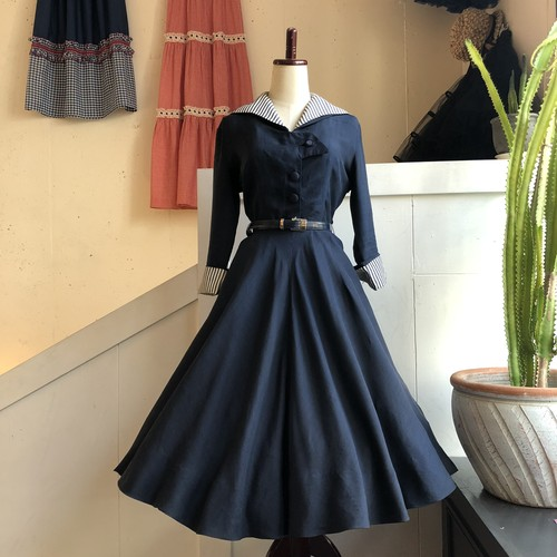 VINTAGE navy/stripe collar&cuffs dress