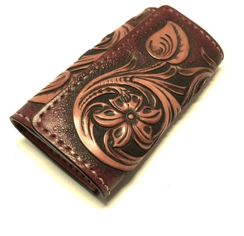 """Flower Carving Leather Keycase""【Eighteen Leather(エイティーン・レザー)】"