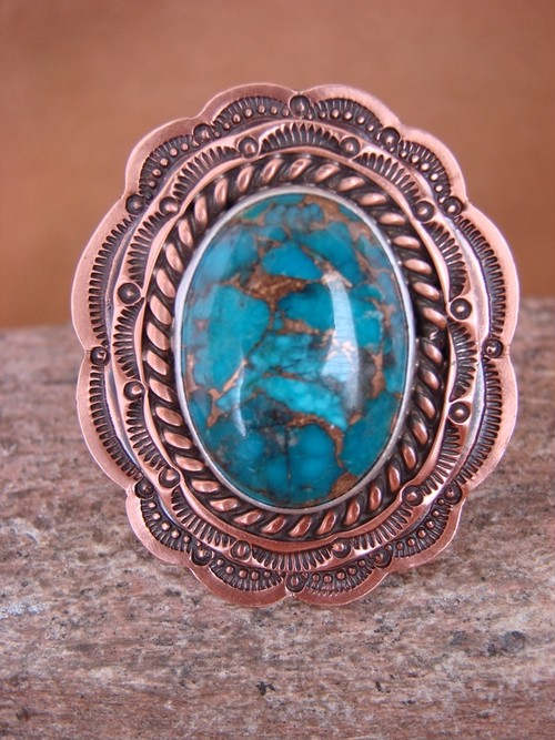 NAVAJO INDIAN HAND STAMPED COPPER & TURQUOISE RING