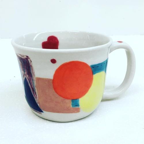 パッチワーク マグカップ 手づくり手描き Pottery Mugcup,handmade,hand-painted