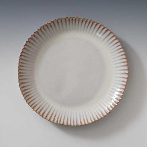 8.5寸輪花皿(白萩釉)